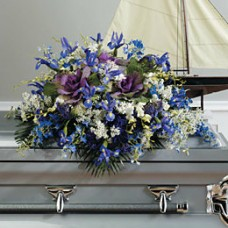 Casket Spray in Blues and Purples