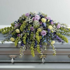 Casket Spray in Lavender, Purple, and Green