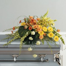Casket Spray with Orchids and Gerberas